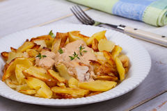 Chicken breasts in mushroom creamy sauce and home fried potatoes. Royalty Free Stock Photo