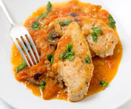 Chicken breasts provencal from above Royalty Free Stock Photo