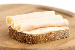 Chicken breasts salami on the chrono bread.  Royalty Free Stock Photos