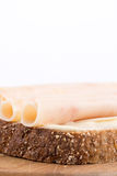 Chicken breasts salami on the chrono bread.  Royalty Free Stock Images