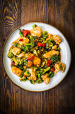 Chicken breasts in soy sauce and stir-fry vegetables royalty free stock photo