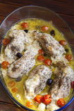 Chicken breasts stuffed with finest cheese and herbs Stock Photos