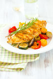 Chicken breasts and vegetables royalty free stock images