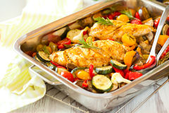 Chicken breasts  and vegetables Royalty Free Stock Photos