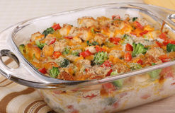 Chicken and Broccoli Casserole Closeup Royalty Free Stock Images