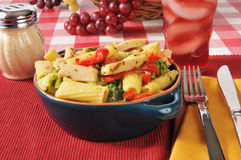 Chicken and broccoli on rigatoni Royalty Free Stock Images