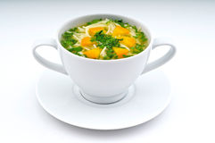 Chicken broth. Fresh and Hot chicken broth in White Cup Isolated royalty free stock photography