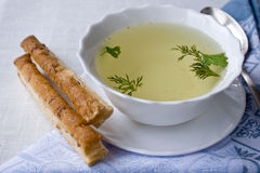 Chicken broth with Chicken broth with cheese stick Royalty Free Stock Photography
