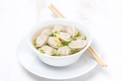 chicken broth with Chinese dumplings, horizontal Royalty Free Stock Photos