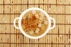 Chicken broth with crackers Royalty Free Stock Photos