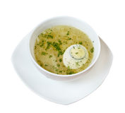 Chicken broth with dill and egg. Royalty Free Stock Photography