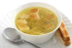 Chicken broth with dried crust Stock Images