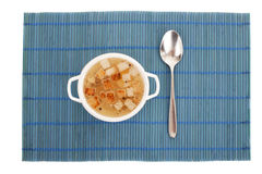 Chicken broth with egg and breadcrumbs Stock Images