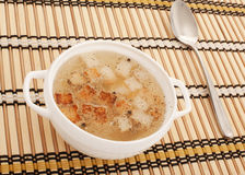 Chicken broth with egg and breadcrumbs Royalty Free Stock Photos