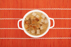 Chicken broth with egg and breadcrumbs Royalty Free Stock Images