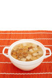 Chicken broth with egg and breadcrumbs Stock Image