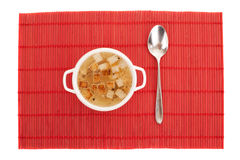 Chicken broth with egg and breadcrumbs Royalty Free Stock Image