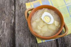 Chicken broth with egg Royalty Free Stock Photos