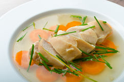 Chicken broth with fresh vegetables Stock Image