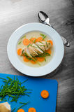 Chicken broth with fresh vegetables Royalty Free Stock Photo