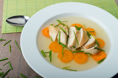 Chicken broth with fresh vegetables Royalty Free Stock Photos