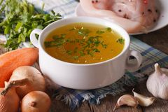 Chicken broth and ingredients close-up. Horizontal Royalty Free Stock Image