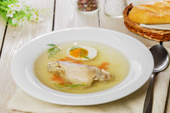 Chicken broth with meat Stock Photos