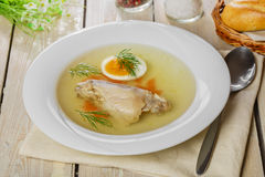 Chicken broth with meat Stock Image