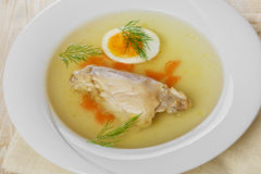 Chicken broth with meat Royalty Free Stock Photography