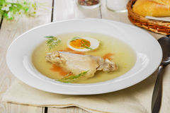 Chicken broth with meat Royalty Free Stock Image