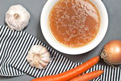 Chicken broth with vegetables Royalty Free Stock Image