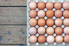 Chicken brown eggs in packing , the top view. Stock Images