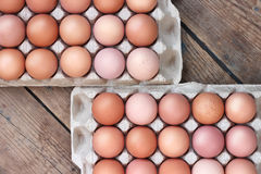 Chicken brown eggs in packing , the top view. Food. Stock Photography