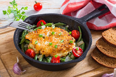 Chicken breast. cheese and onion ground  patties Royalty Free Stock Photos