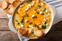 Chicken buffalo dip with blue cheese and greens close-up in a ba Stock Photo