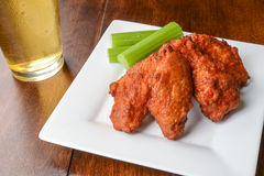 Chicken Buffalo Wings and a Beer Stock Photo