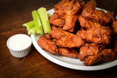 Chicken Buffalo Wings. With Celery Sticks and Blue Cheese Dressing stock images