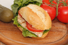 Chicken in a bun Royalty Free Stock Photos