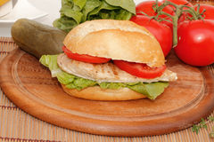 Chicken in a bun Royalty Free Stock Images