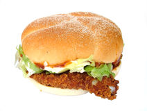 Chicken burger. Fried chicken burger stock photography