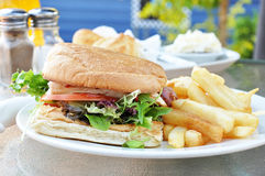 Chicken Burger And Chips Stock Photo