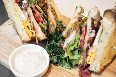 Chicken burger bacon egg salad club sandwich set. Snack stock images