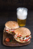 Chicken burger and beer Royalty Free Stock Images