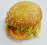 Chicken Burger - Big juicy burger on white background - Rounders Stock Photo
