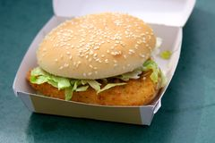 Chicken burger in box Royalty Free Stock Image