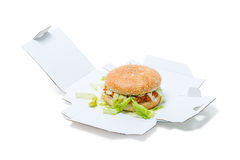 Chicken Burger in a box Royalty Free Stock Photos