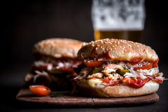 Chicken burger with cheese and pickles Stock Image