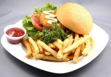 Chicken burger combo Stock Photos
