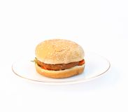 Chicken Burger. Chicken burger fast food on plate Stock Images