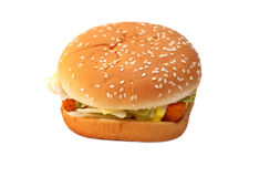 Chicken burger. Chicken burger fast food  on white background Royalty Free Stock Images
